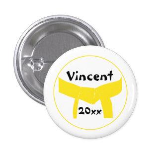 Botón amarillo de encargo de la correa de los arte pins