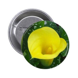 Botón amarillo de la cala pin redondo de 2 pulgadas