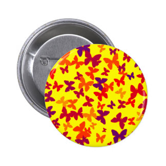 Botón amarillo de la mariposa pin redondo de 2 pulgadas