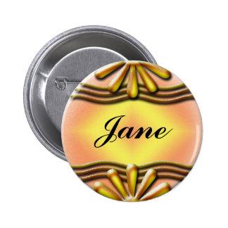 Botón amarillo del letrero pin redondo de 2 pulgadas