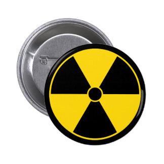 Botón amarillo del símbolo de la radiación pins
