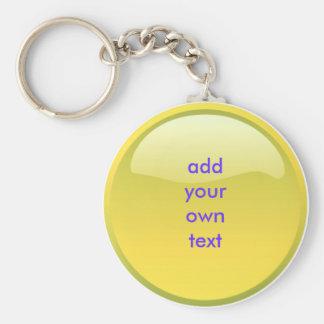 botón amarillo llavero redondo tipo pin