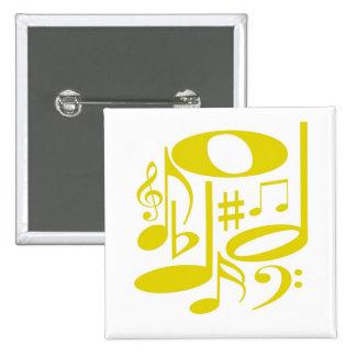 Botón amarillo musical pin cuadrado