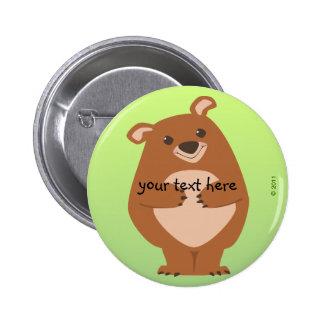 Botón amistoso del oso pin redondo de 2 pulgadas
