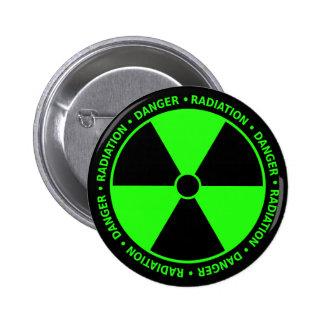 Botón amonestador de la radiación verde pin redondo de 2 pulgadas