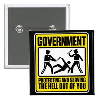 Botón amonestador del gobierno pin cuadrado