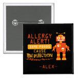 Botón anaranjado de la alarma de la alergia pin cuadrado