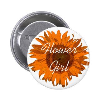 Botón anaranjado del florista del girasol pins