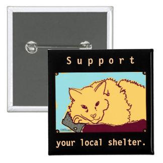 Botón anaranjado del gato de la ayuda del refugio  pins
