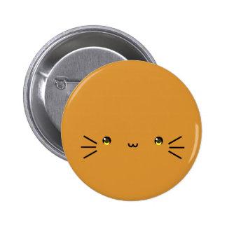 botón anaranjado del neko pin redondo de 2 pulgadas