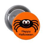 Botón anaranjado lindo de la araña de Halloween