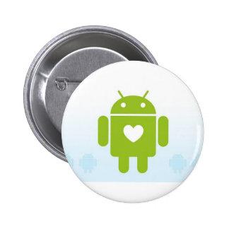 Botón androide del corazón pin redondo de 2 pulgadas