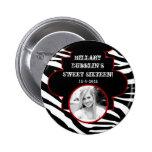Botón animal de la foto del estampado de zebra bla pins