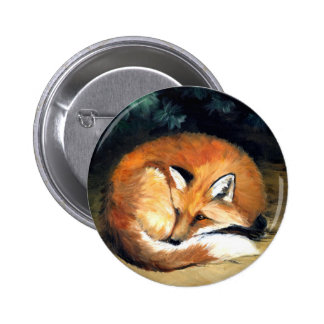 """Botón animal del arte del """"Fox soñoliento"""""""