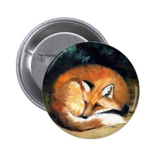 Botón animal del arte del Fox soñoliento Pins
