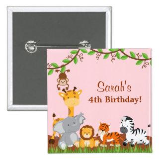 Botón animal del cumpleaños del chica de la selva pin cuadrado