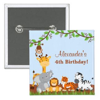 Botón animal del cumpleaños del muchacho de la pin cuadrado