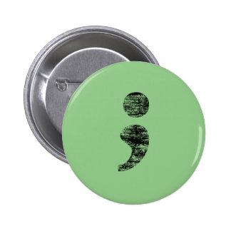 Botón apenado del punto y coma pin redondo de 2 pulgadas