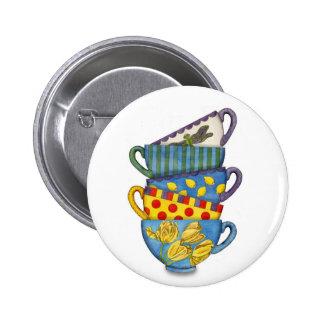 Botón apilado de las tazas de té pin