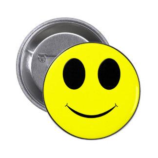Botón apoyado Cara-Pin amarillo grande del smiley