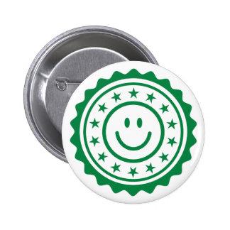 Botón aprobado verde sonriente del pinback del sel pins