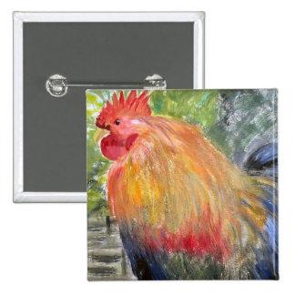 Botón - arte del gallo/del pollo