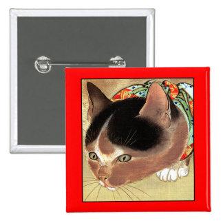 """Botón: Arte del gato del vintage: """"Gato curioso de Pins"""