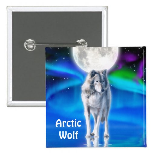 Botón ártico de la fauna del lobo, de la luna y de pin