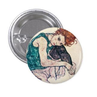 Botón asentado Schiele de la mujer de Egon Pin Redondo De 1 Pulgada