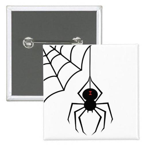 Botón asustadizo de la araña pin cuadrado