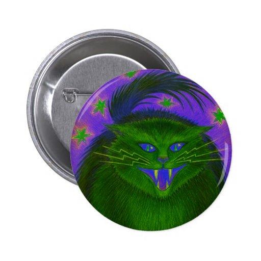 Botón asustadizo del verde del gato redondo