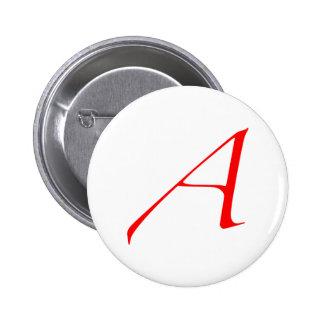 Botón ateo de la letra escarlata pins