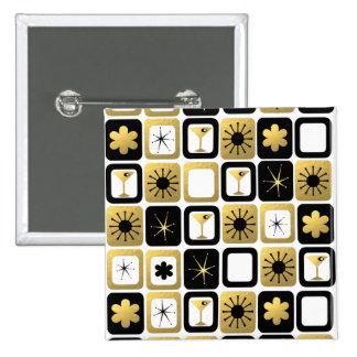 Botón atractivo retro del oro pin cuadrado