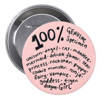 Botón auténtico del chica del espécimen del 100 po pin redondo de 3 pulgadas