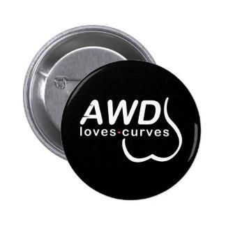 Botón AWD de las curvas de los amores Pin Redondo De 2 Pulgadas