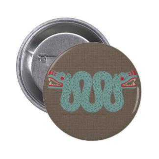 Botón azteca de la serpiente pin redondo de 2 pulgadas