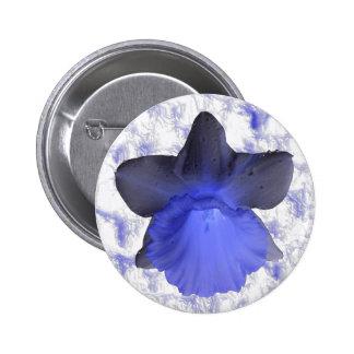 Botón azul cambiante del narciso del goteo pin redondo de 2 pulgadas