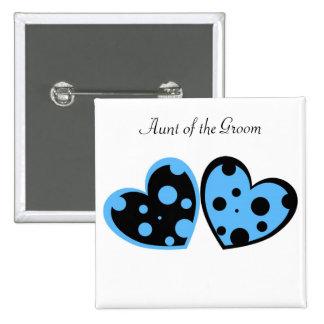 Botón azul claro y negro de los corazones pin cuadrado