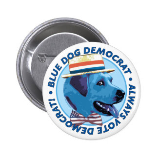 Botón azul de Demócrata del perro Pin Redondo De 2 Pulgadas