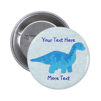 Botón azul de Dino Pin Redondo De 2 Pulgadas