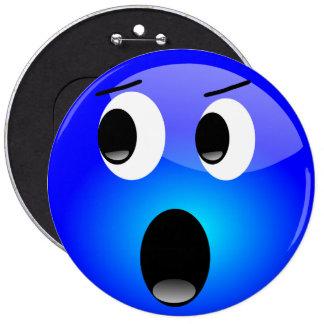 Botón azul de Emoji Pin Redondo De 6 Pulgadas