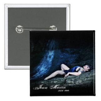Botón azul de la cascada del vestido de Jenn Pin Cuadrado