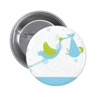 Botón azul de la cigüeña pin