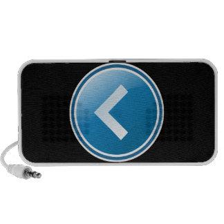 Botón azul de la flecha - dejado notebook altavoces