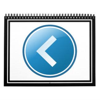Botón azul de la flecha - dejado calendario de pared