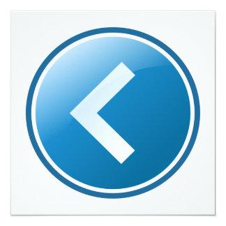 """Botón azul de la flecha - dejado invitación 5.25"""" x 5.25"""""""
