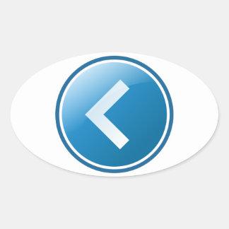 Botón azul de la flecha - dejado pegatinas óval personalizadas