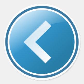 Botón azul de la flecha - dejado pegatina redonda