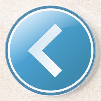 Botón azul de la flecha - dejado posavasos cerveza