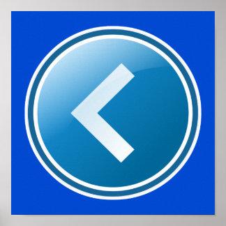 Botón azul de la flecha - dejado póster